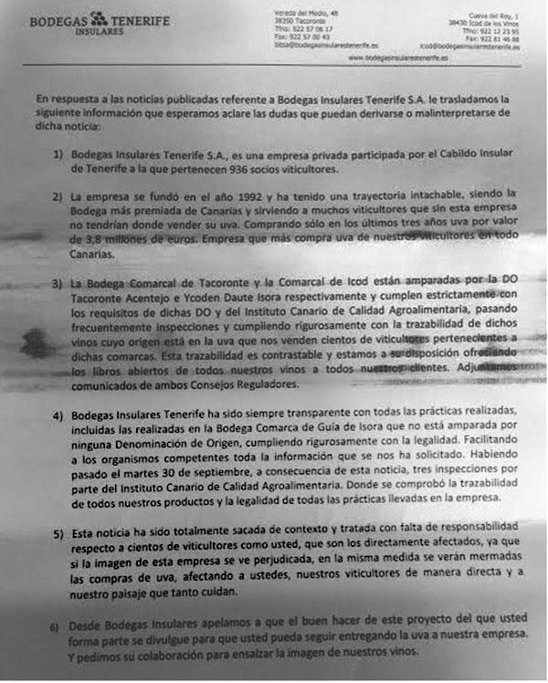 Escrito dirigido a los accionistas de Bodegas Insulares con la convocatoria de la junta extraordinaria, con firma de Bethencourt. / CANARIAS3PUNTOCERO
