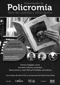 Cartel sobre la presentación de la colección de cuentos y otros textos. / CANARIAS3PUNTOCERO