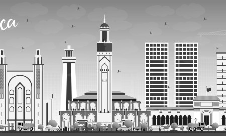 Casablanca Skyline with Gray Buildings and Blue Sky. Vector Illustration. Business Travel and Tourism Concept with Historic Architecture. Image for Presentation Banner Placard and Web Site.