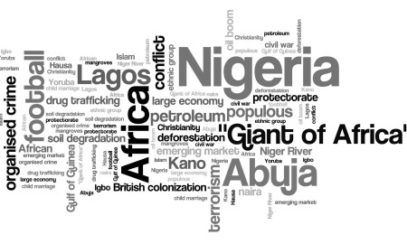 Nigeria - African country word cloud illustration. Word collage.