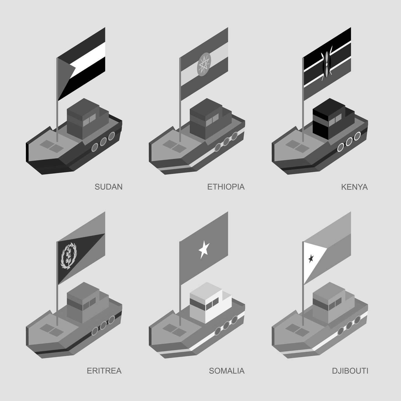 Set of isometric 3d ships with flags of African countries. Cartoon vessels with standards - Sudan, Ethiopia, Kenya, Eritrea, Somalia, Djibouti. Sea transport icons for infographics.