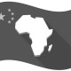 Illustration of an isolated China waving flag with  a map of the african continent