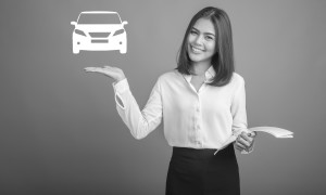 Beautiful Business Woman presenting car icon