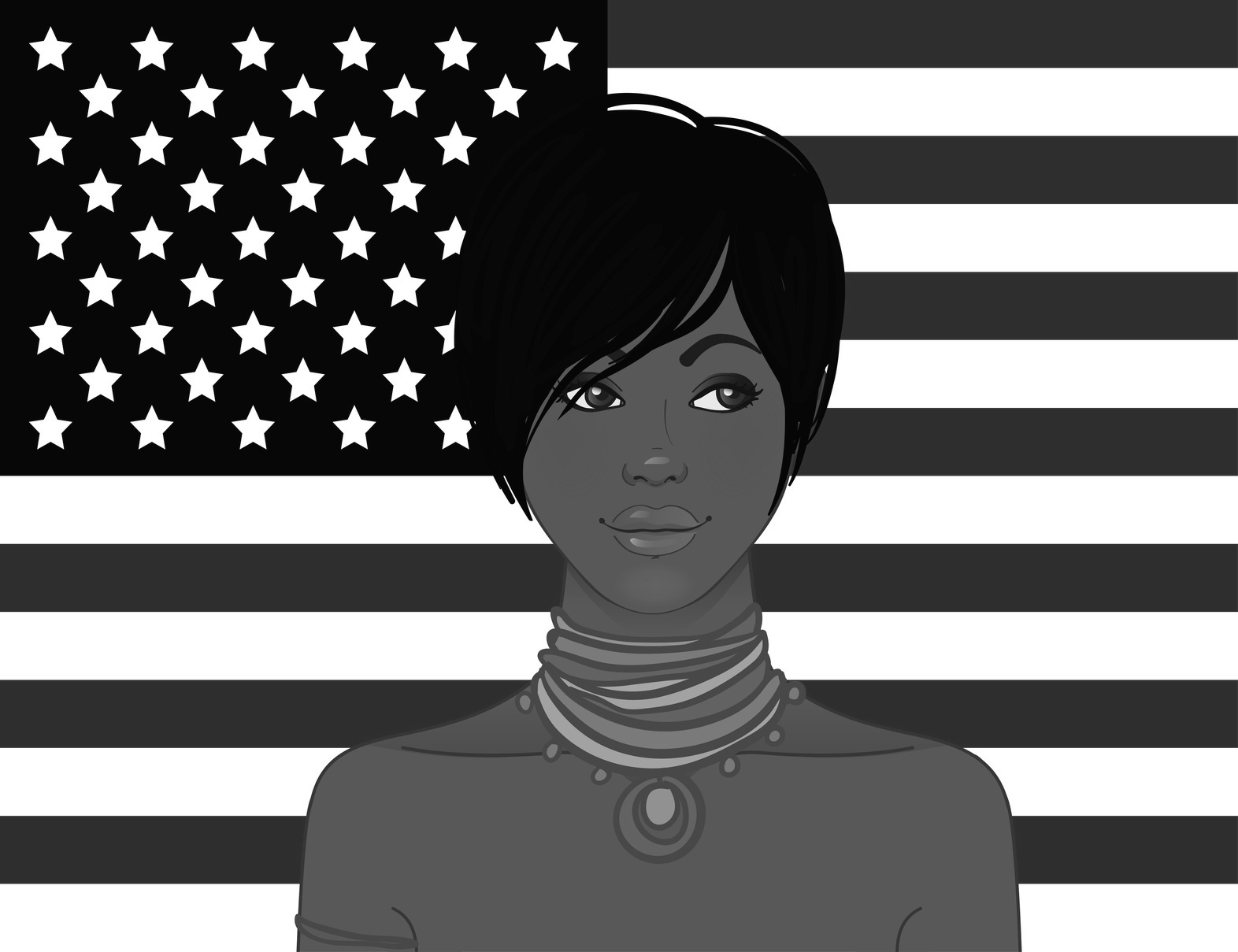 American beauty: Beautiful African American young woman with American flag on a background. Vector illustration.