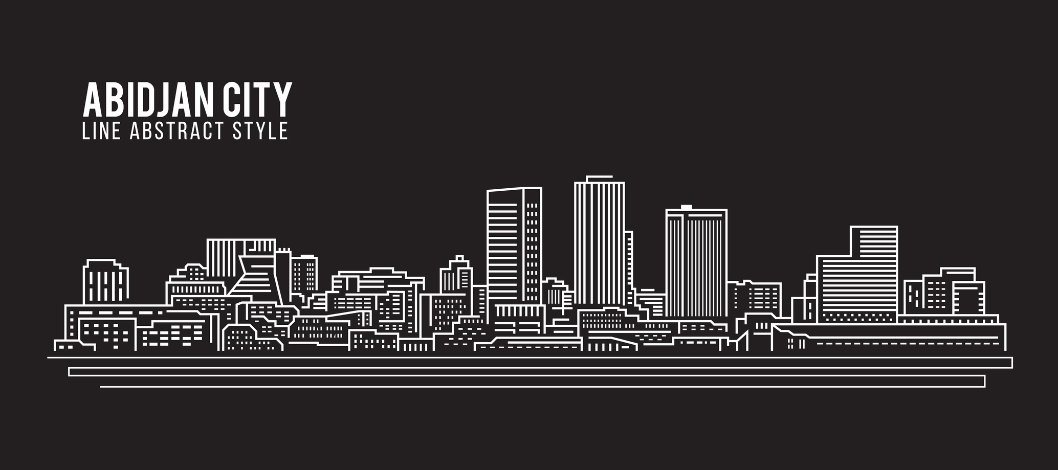 Cityscape Building Line art Vector Illustration design - Abidjan city