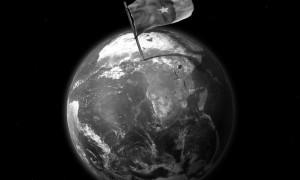 Drapeau du Cameroun sur la plante Terre