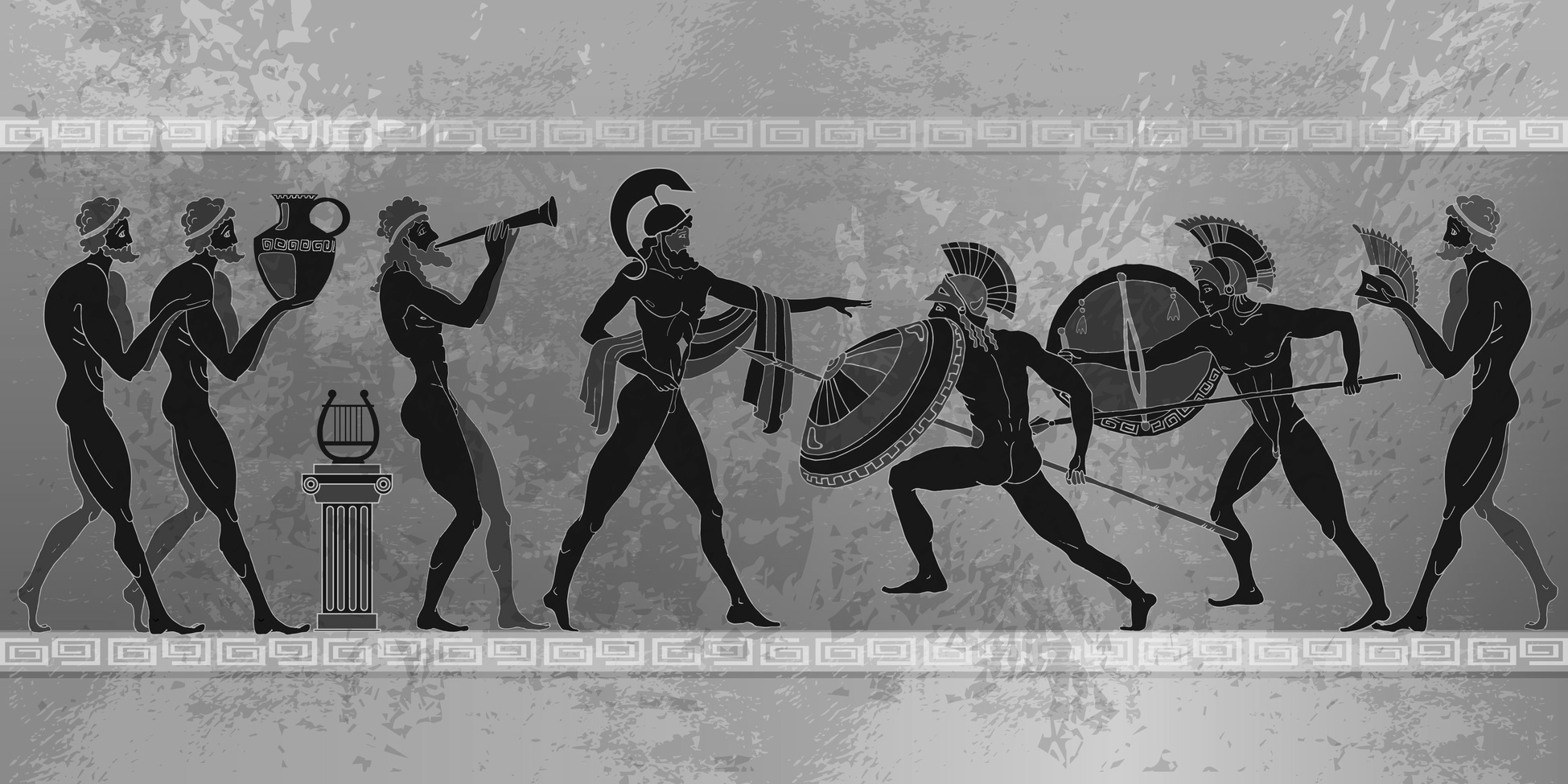 Ancient Greece scene. Black figure pottery. Ancient Greek mythology. Ancient warriors Sparta people, gods of an Olympus. Classical style