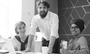 Team of successful employees having meeting