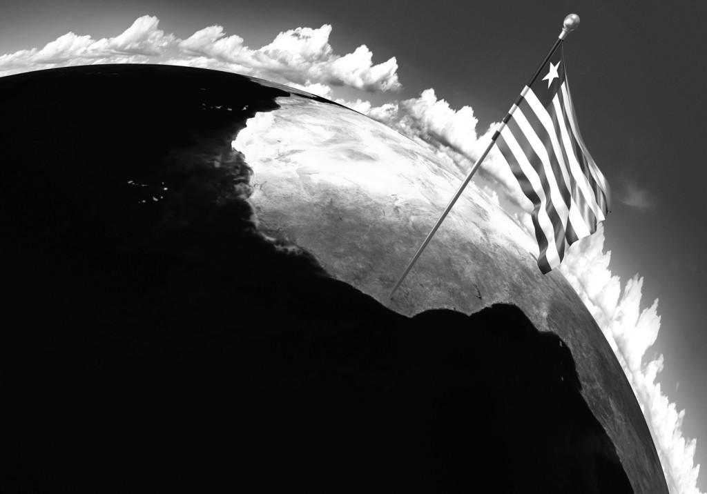 Bandera de Liberia, muy parecida a la americana, y situación en el mapa de África