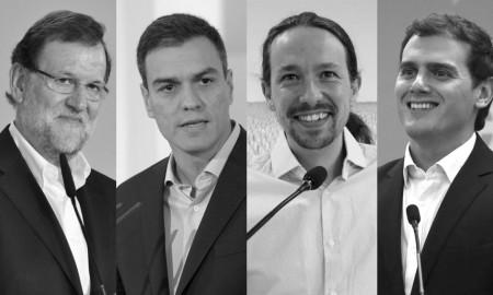 Mariano Rajoy (PP), Pedro Sánchez (PSOE), Pablo Iglesias (Podemos) y Albert Rivera (Ciudadanos) en un montaje fotográfico extraído de La Sexta