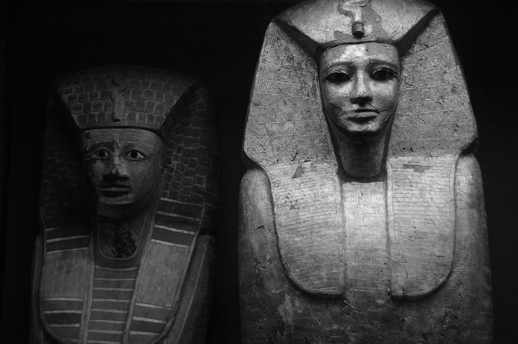 Piezas de arqueología egipcia, en el museo del Louvre