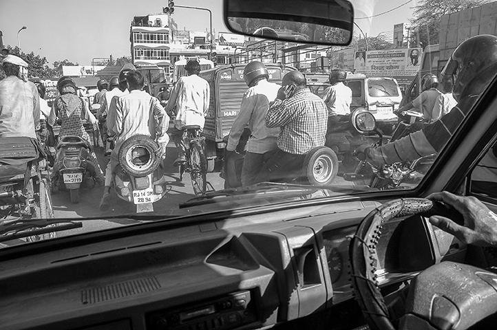 Tráfico y atascos en Jaipur