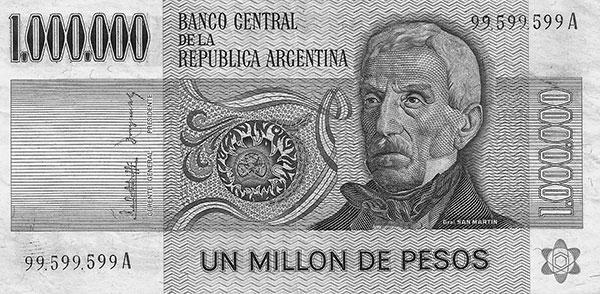 BILLETE de 1.000.000 de PESOS LEY 18188