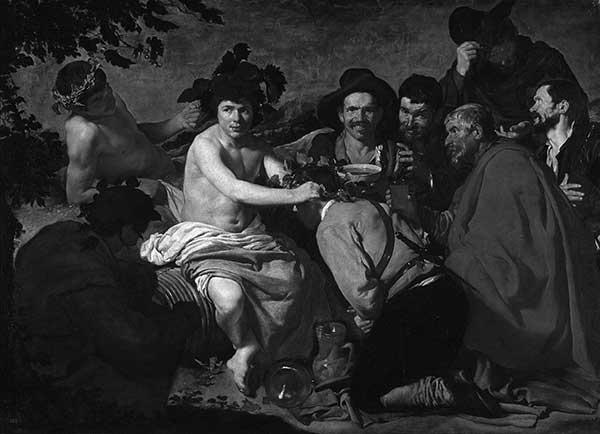 Cuadro de Velázquez: El triunfo de Baco o Los borrachos (en el Museo del Prado, 1628-29)