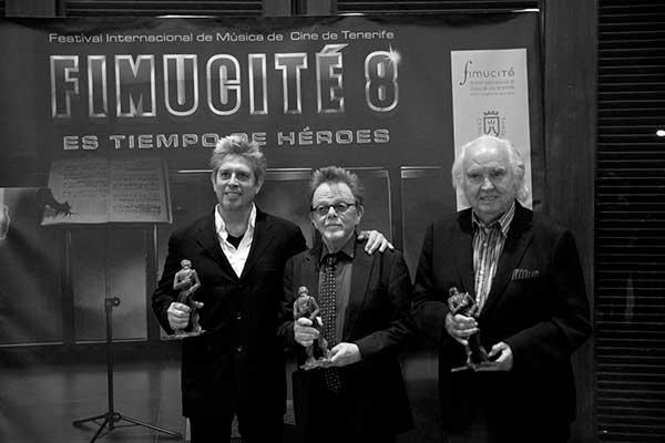 Elliot Goldenthal, Paul Williams y Antón García Abril recibieron en la gala de clausura el premio Fimucité Award. / FIMUCITÉ