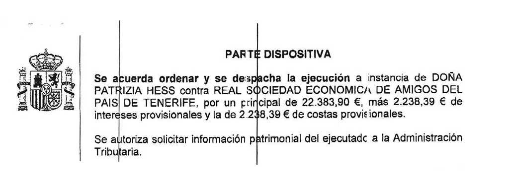 Parte del auto en que se ordena ejecución por casi 27.000 euros. / CANARIAS3PUNTOCERO