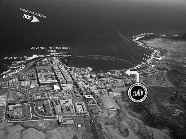 Imagen aérea con la ubicación de la academia 30 Nudos, en El Médano. / CANARIAS3PUNTOCERO