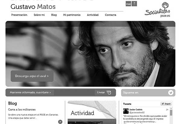 Pantallazo de la web oficial de Matos. / CANARIAS3PUNTOCERO