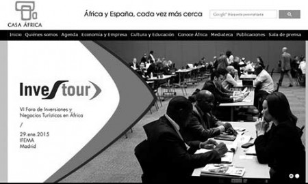 Pantallazo de la página de inicio del sitio en Internet de Casa África. / CANARIAS3PUNTOCERO