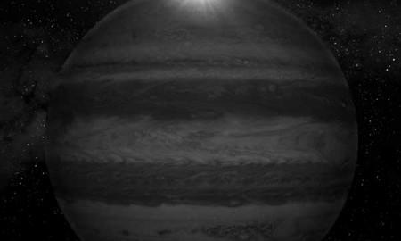Ilustración de Júpiter visto desde Ganímedes en el momento del eclipse. / GABRIEL PÉREZ, SMM (IAC)