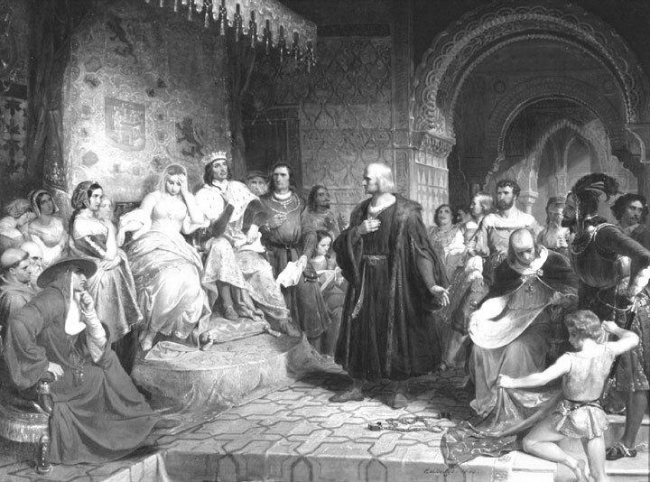 Cristóbal Colon explicando a los Reyes Católicos su proyecto de viajar a Las Indias, cruzando el Atlántico