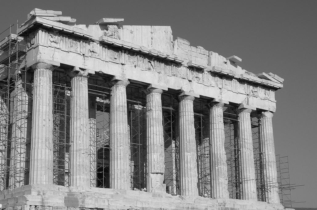 Fachada principal del Partenón en Acrópolis